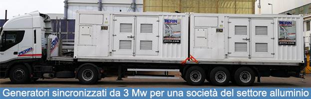 Generatori sincronizzati da 3 Mw per il settore alluminio: nuova installazione di PERINGENERATORS