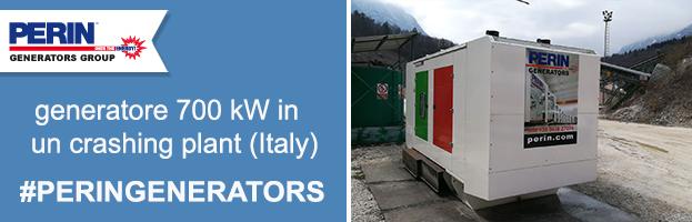 Nuova commessa PERINGENERATORS: generatore da 700 kw ad Alpago presso un impianto di frantumazione pietre