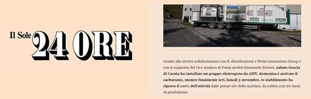 Il Sole 24 Ore: Goccia di Carnia resumes production in record time thanks to PERINGENERATORS